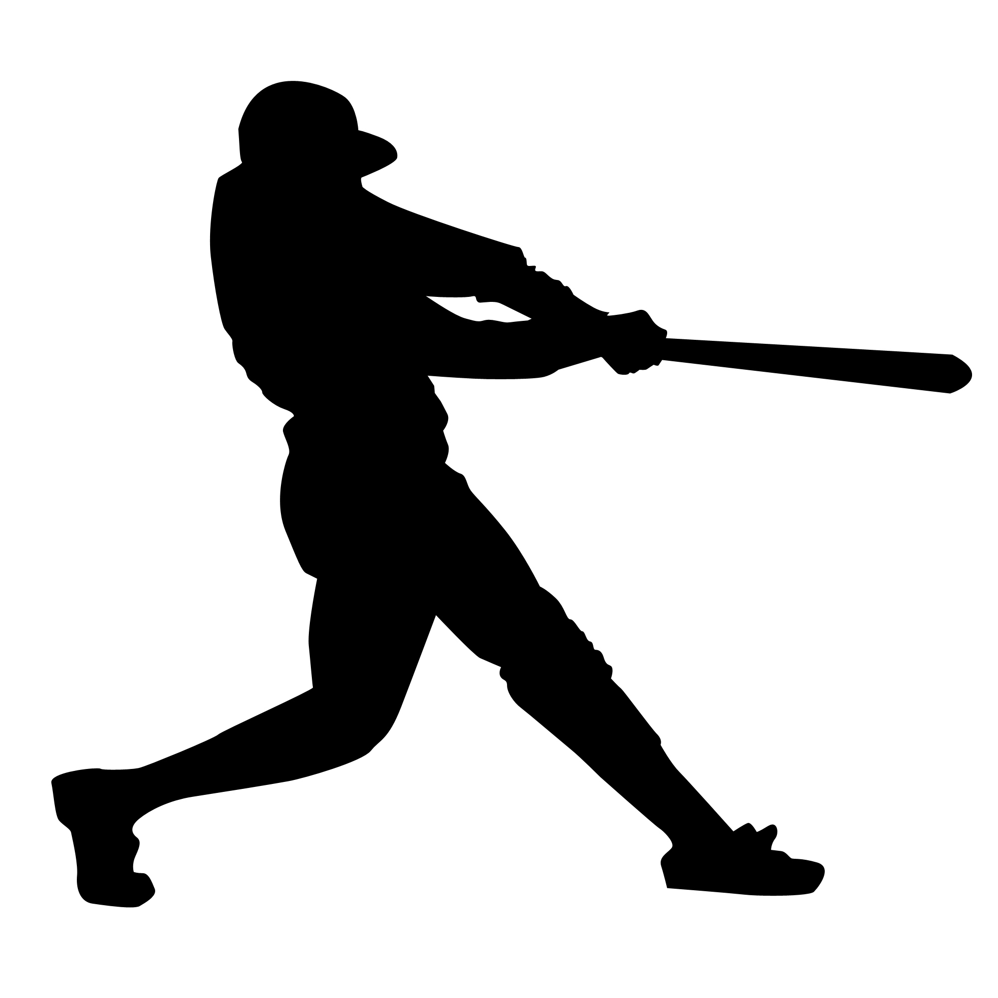 Black silhouette of a baseball player